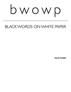 Black Words on White Paper: White Cover